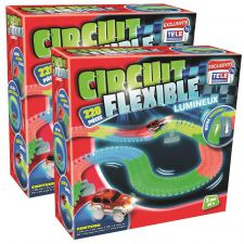 CIRCUIT FLEXIBLE LUMINEUX 220 RAILS LOT DE 2